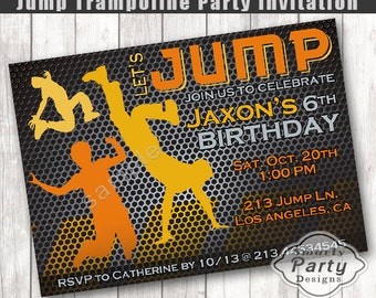 Jump Birthday Invitation | Bounce House Birthday | Boy Trampoline Party Invite | Printable Personalized 4 x 6 or 5 x 7