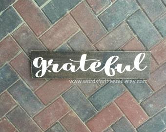 Grateful Wood Sign - Autumn Wall Art - Rustic Home Decor - Autumn Rustic Sign - Wood Sign - Farmhouse Decor - Grateful Decor - Autumn Decor