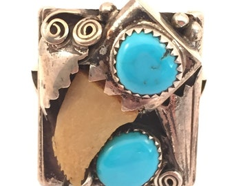 Vintage Signed Native American Turquoise and faux claw Sterling Ring sz 14