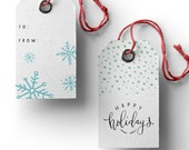 Printable Christmas Gift Tags - Let It Snow / Happy Holidays 2