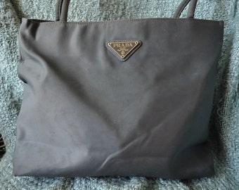 Prada Vintage Grey Nylon Tote Bag Small