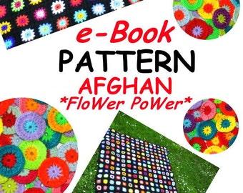e-Book *Afghan FloWer PoWer* crochet pattern US-english & german blanket, pdf-datei, crochet afghan, granny square
