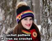 Alaska Kit. Crochet rainbow hat and cowl pattern by Akroche tatuk. 4 sizes.  (english and french). PDF PATTERN ONLY!