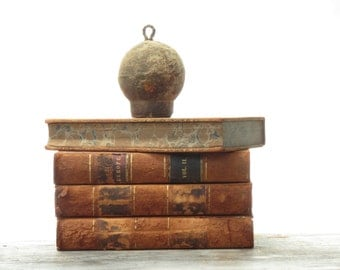 Antique Leather History of Europe Books - Old Leather Bound Book Collection - 4 Old Leather Books - Vintage Leather Books