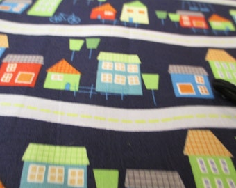 Quilting Weight Cotton Fabric In Your Neighborhood in Light Navy designed by Jamie Woods for Clothworks 1 yard