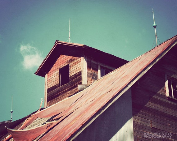 Country photograph, country decor, barn, fine art, western decor, farm, rustic, red, Midwestern art - Weathered