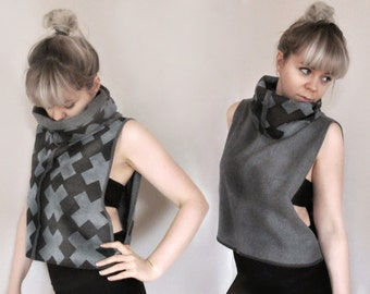 Reversible Cowl Neck Drop Armhole Sweater Top - 'Multiply Print' - Marl Grey - Free Size