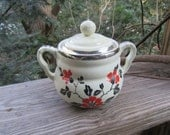 hall red poppy covered sugar bowl, silver trim