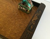 GREEK KEY SERVING Tray Wood and Bamboo, Chinoiserie, Hollywood Regency, Paris Apartment at Ageless Alchemy