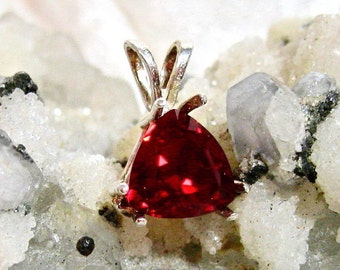 10mm Ruby Pendant, Ruby Trillion Pendant (Lab Created) Solid 925 Sterling Silver