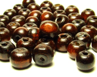 DOLLAR SALE Dark Brown Wood Beads, 8mm Beads - Round Beads - Wooden Beads