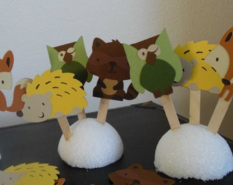 Woodland Animals Cupcake Toppers- Woodland Party Cupcake Toppers- Woodland Baby Shower- Woodland Birthday-Forrest Friends Cupcake Toppers