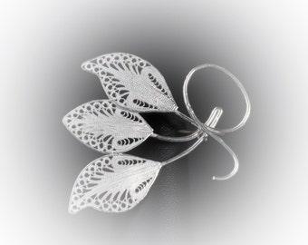 Triple Leaf brooch silver embroidery