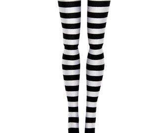 Momoko 1/6 Scale BJD Doll Stockings - Black & White Stripe - Doll Clothes - 27cm