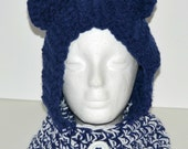 Toddler unisex winter bear hood in Navy Blue and White, Toddler 2T - 5T  winter hat,  Gifts under 25, 2015 winter trends, Winter accessory