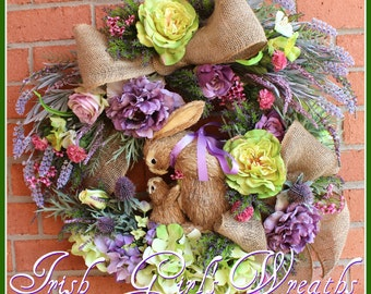 Lavender & Roses Purple and Green Mom and Baby Bunny Wreath, Easter wreath, Mothers Day, Nursery, heather, Rabbit, thistle