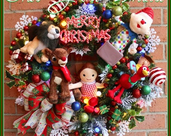 HOLIDAY 2016 Pre-ORDER, Deluxe Island of Misfit Toys Christmas Wreath, Layaway Available, Rudolph, Moonracer, Cowboy, Charlie, Ragdoll, lit