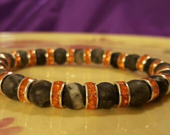 Grey, Black, White Marbled Matte Beaded Stretch Bracelet with Tangerine Orange Crystal Spacers Throughout