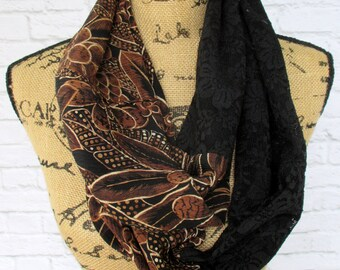 Infinity Scarf - Gift for Wife - Lace Scarf - Women's Apparel - Handmade Fashion - Repurposed Refashioned Upcycled - Casual Office Attire