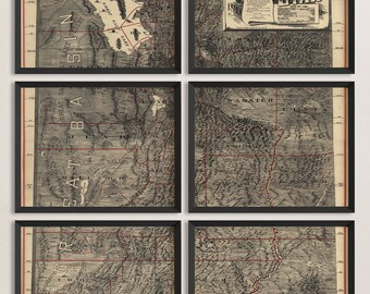 Old Utah Map Art Print 1895 Antique Map Archival Reproduction - Set of 6 Prints
