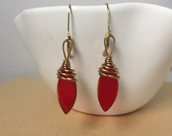 Red Glass Tear Drop Gold Wire Wrapped Earrings