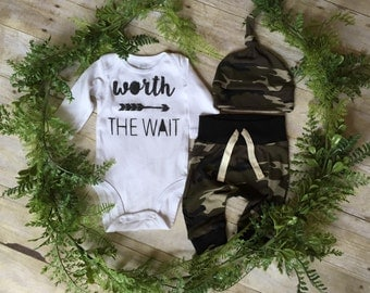 Worth The Wait Newborn Boy Take Home Outfit / Newborn Boy Coming Home Outfit / Newborn Camo Outfit // Camo Clothing Set // Preemie Clothes B