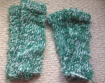 Green and white St. Patrick's Day leg warmers hand knit