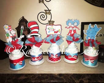 Dr Seuss Diapercake minis/Dr Seuss Diapercakes/Dr Seuss Baby Shower Theme/thing 1 and thing 2 diapercakes/one fish, two fish