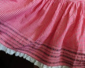 Vintage Tiered Full Skirt, Red Check Border Print, Lace Ruffle, Metal Zipper, Line Dance Skirt, Square Dance, Retro Summer Skirt