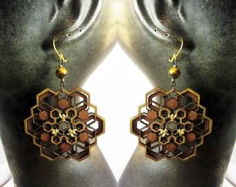 Geometric Mandala Earrings, Laser Cut Jewellery, Baltic Birch, Wood, gold bees, Hexagon mandala, gift ideas