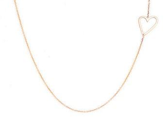 Offset Heart Necklace, Offset Heart Charm Necklace, Offset Open Heart Necklace, Sterling Silver, 10k Gold