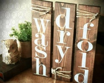 Laundry Room decor signs. Set of 3 rustic pallet signs. Wood bathroom laundry decor. NO STICKERS or stencils! wash/dry/fold  wash/relax/soak