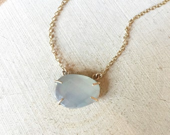 Gold & Grey Moonstone Prong Set Pendant