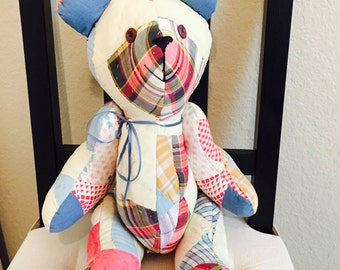 Teddy Bear Quilted Fabric / Vintage Hand Sewn Teddy Bear Patched Fabric Shabby Chic Quilted Bear