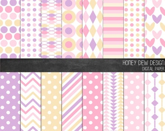 Instant Download - Digital Paper Pack 312 Pink and Purple Patterned Paper