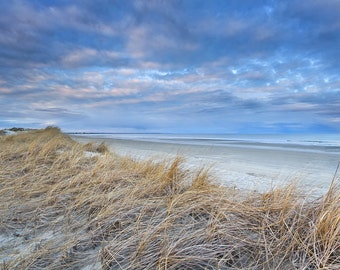 Beach Photography Ogunquit Beach Photo Maine Coast Picture Dunes Grass Ocean Seascape Print Coastal Nautical Decor Large Art Blue Beige Grey
