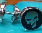 2 Punisher Skull Tie Tacks, Lapel Pins or Hat Pins