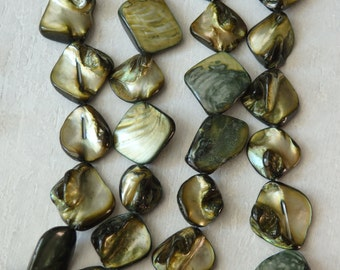 "Irregular shell beads in olive green, 14"" strand of large shimmering shell beads, green mother of pearl beads, MOP beads, green shell beads"