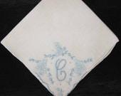 Embroidery Handkerchief Wedding Hankie Initial C Letter Monogrammed