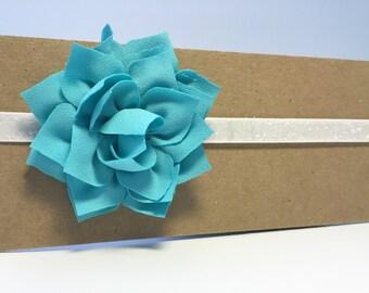Turquoise lotus flower baby/toddler headband