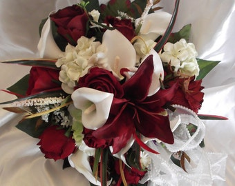 Celtic Bride Silk Flower Bouquet Wedding Set 15pc Red/White Lilies Round Bouquet