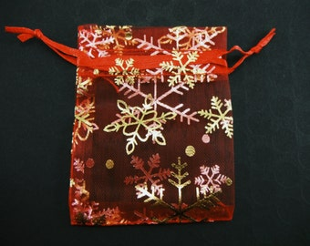 25 Pcs - Red Organza Bags With Snow Flake Fashion - 6cm wide x 8cm long BAG006