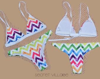 "Strap back "" Over the rainbow ""bikini ,rainbow color,boho swimwear,low rise,cheeky bikini set,two pieces bikini set,colorful triangle bikini"