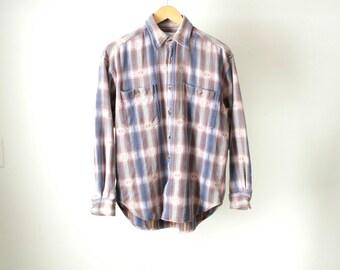 90s ikat southwest BRIGHT pastel blue FLANNEL grunge shirt
