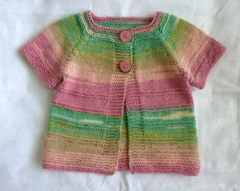 Handknitted short sleeved baby cardigan, sweater vibrant colours - baby girl handknit 6 to 12 months