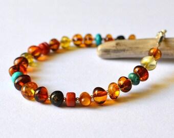 coral, turquoise, amber bracelet / amber / amber jewelry / bracelet