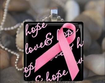 15% OFF AUGUST SALE : Breast Cancer Awareness Pink Ribbon Love Hope Glass Tile Pendant Necklace Keyring