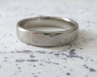 Palladium Wedding Band - Hand Shaped Slim Court Wedding Band - Hammered Ring - 4mm - Palladium Wedding Band