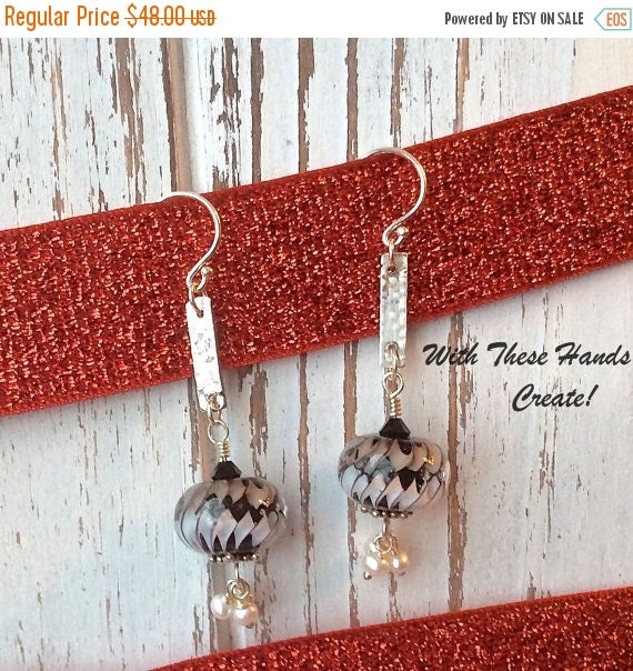 SALE Black and White Ribbons and Pearls Lampwork Earrings