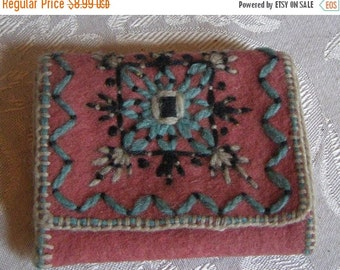 ON SALE 1920's Handmade Purse Mirror Case with Watered Silk Lining